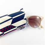 Glasses / sunnies case with hand embroidery - indigo and cream