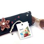 Glasses / sunnies case - kimono fabric with detachable flower brooch - indigo