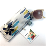 Glasses / sunnies case with detachable flower brooch - turquoise and grey leaves