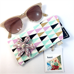 Glasses / sunnies case with detachable flower brooch - pastel pink & mint green
