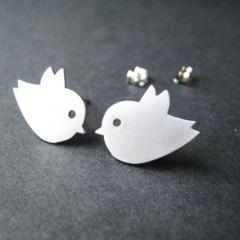 Love Bird Studs - Silver