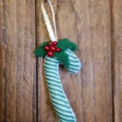 Christmas felt decoration candy canes set of 2