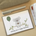 Australian Birthday Card, Koala Card, Koala with Balloon, HBF174