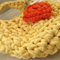 Yellow Orange Crochet  Hanging Yarn Basket , tshirt Yarn Basket ,