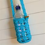Aqua Blue Crocheted Water Bottle Carrier