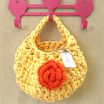 Yellow Orange Crochet  Hanging Yarn Basket , tshirt Yarn Basket ,