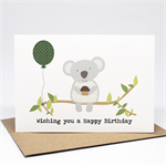 Birthday Card Male or Female - Koala with Balloon and Cupcake - HBF174