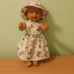 Dress and hat for Baby Born doll or other 48cm similar dolls