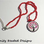 Pink and Red Tree Pendant Necklace