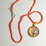 Sunset and Tree Pendant Necklace