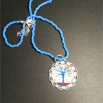 Blue Tree Pendant Necklace