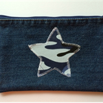 Upcycled Denim Pencil case - Blue Star