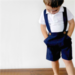 Boys Pants with Braces. Navy Blue Linen. Your choice of size 3 to 5