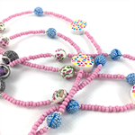 Handcrafted polymer clay long necklace- mixed pink and blue