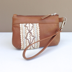 Brooke Coin Purse: Camel brown leather with boho lace