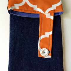 Orange and white geometric pattern denim sleeve with calico lining