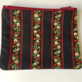 BUSHFIRES Navy, red, green, red  cream floral print coin purse with zipper