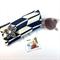 Glasses / sunnies case with detachable flower brooch - indigo chevron