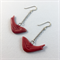 Ceramic bird earrings in red with sterling silver hooks
