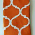 Orange and white geometric pattern denim sleeve with calico lining