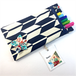 Pencil case / phone purse with detachable flower brooch - indigo & ivory chevron