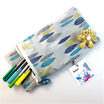 Pencil case / phone purse with detachable flower brooch - turquoise leaves