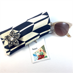 Glasses / sunnies case with detachable flower brooch - indigo chevron