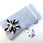 Pencil case / phone purse with detachable flower brooch - blue & white stripe