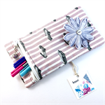 Pencil case / phone purse with detachable flower brooch - pink & white jags