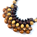 Handcrafted Woven long or short adjustable statement necklace- Wood & onyx