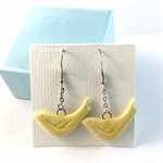 Ceramic bird earrings in yellow with sterling silver hooks