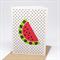 Handmade Blank Card - Watermelon on Black Polka Dots - BLA048