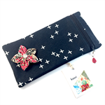 Pencil case / phone purse with detachable flower brooch- navy crosses