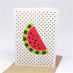 Handmade Blank Card - Watermelon on Black Polka Dots - BLA048