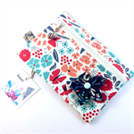 Coin purse / zip pouch with detachable flower brooch - summer floral