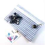 Coin purse / zip pouch with detachable flower brooch - blue and white stripe
