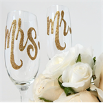 Mr and Mrs Champagne Toasting Flutes For the Bride and Groom Rio