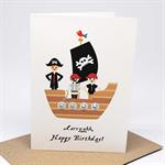 Birthday Card Boy - Pirates on a Pirate Ship - HBC244