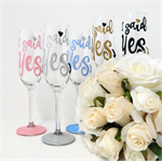 I said Yes Engagement Champagne Flute Gift For Bride To Be Rio