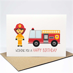 Birthday Card Boy - Firefighter and Red Fire Engine - HBC240