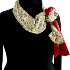 Silk scarf reclaimed from vintage silk kimonos.Cream and red.