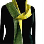 Long silk and cotton scarf in greens