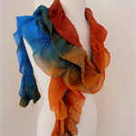Nuno felted Merino Silk scarf wrap by plumfish terracotta teal