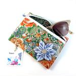 Coin purse / zip pouch with detachable flower brooch - orange & cornflower blue