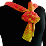 Extra long cotton scarf in red with green spots