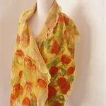 SALE Nuno felted Merino Silk scarf wrap by plumfish terracotta tumeric gold