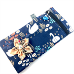 Pencil case / phone purse with detachable flower brooch- navy swans