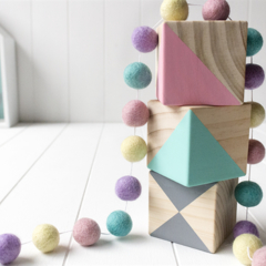 Felt Ball Garland. Pom Nursery Bunting Girls Room Decor. Pastel Pink Purple Mint