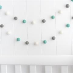Felt Ball Garland. Pom Pom Nursery Bunting. Gender Neutral. Aqua Grey White