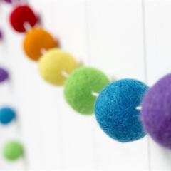 Felt Ball Garland. Pom Pom Nursery Bunting. Gender Neutral. Rainbow Garland